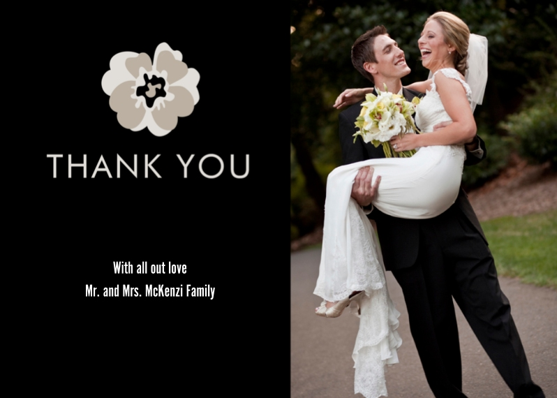 Thank You Cards 5x7 Cards, Premium Cardstock 120lb, Card & Stationery -Urban Romance Thank You