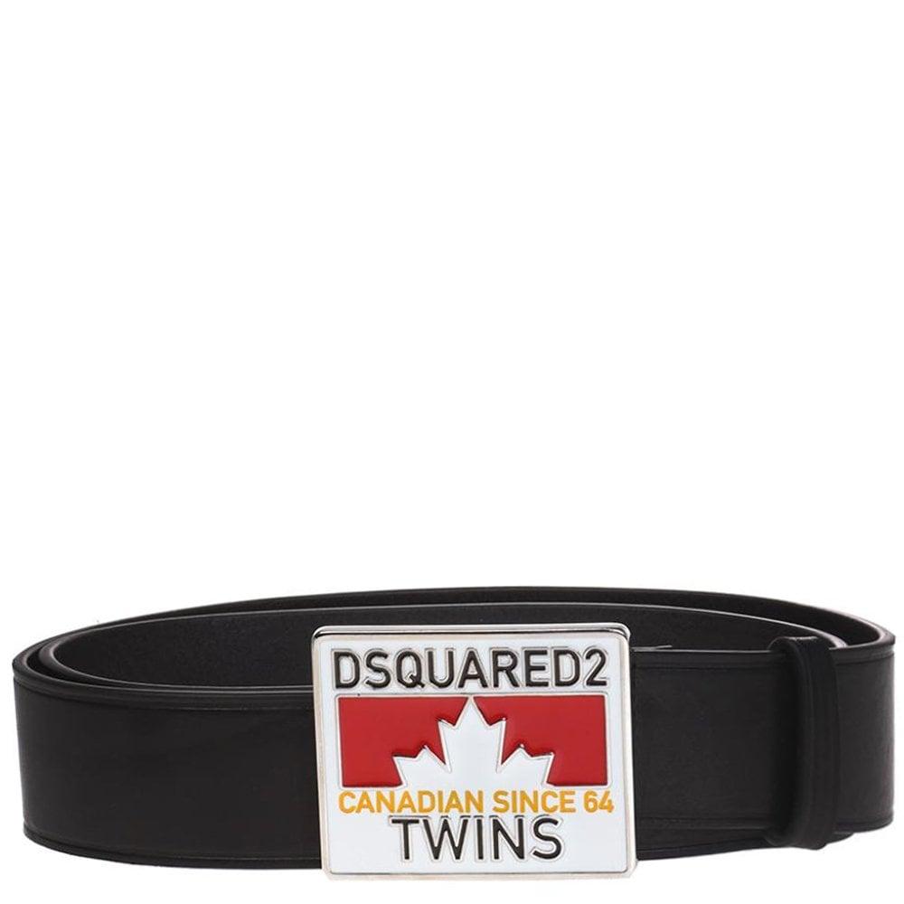 DSquared2 Caten Twins Plaque Belt Colour: BLACK, Size: 30