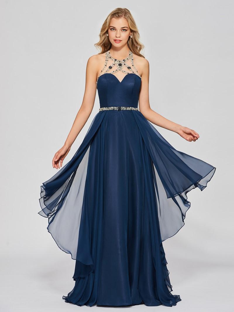 Ericdress A Line Halter Beaded Floor Length Long Prom Dress