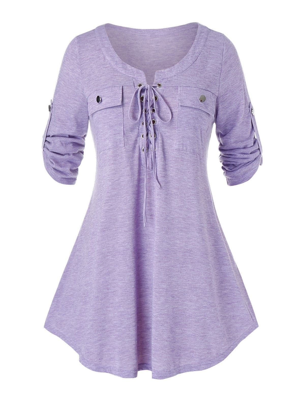 Plus Size Heather Lace Up Roll Up Sleeve T-shirt
