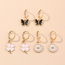 3pairs Toddler Girls Butterfly & Clover Decor Drop Earrings