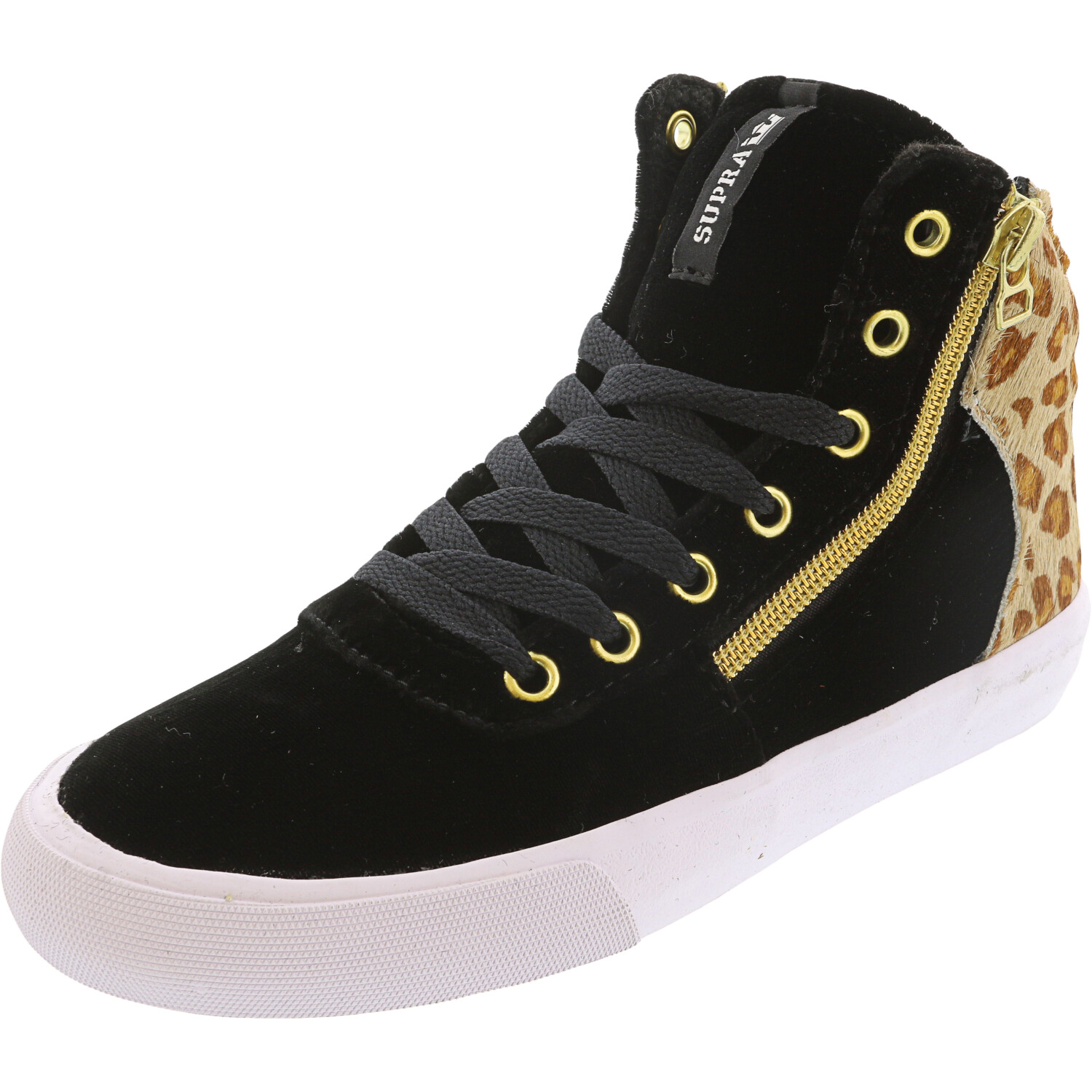 Supra Women's Cuttler Black / Spotted White Ankle-High Leather Women' - 6M