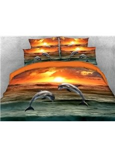 Two Dolphins Jumping Out of The Sea 3D Printed 4-Piece Polyester Bedding Sets/Duvet Covers