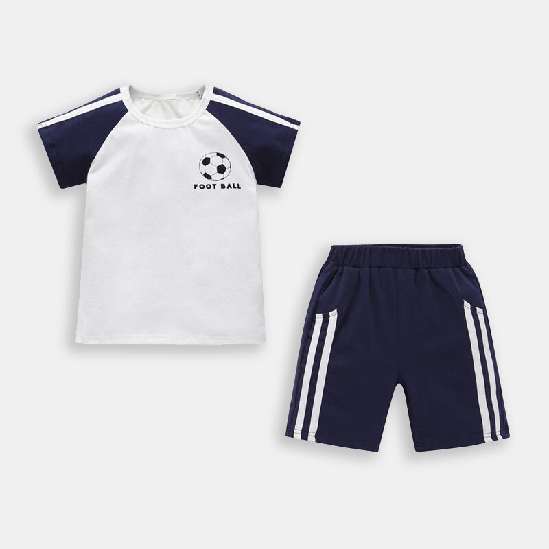 Boy's Football Pattern Short-sleeved Casual Sport Clothing Set For 1-7Y
