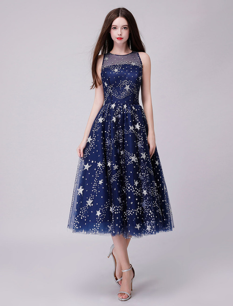 Milanoo Prom Dresses Dark Navy Lace Sleeveless Stars Tea Length Graduation Party Dress
