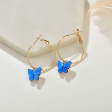 Butterfly Round Drop Earrings