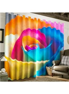 Bright Colored Rose Printed 2 Pieces Decorative and Blackout Window Drape