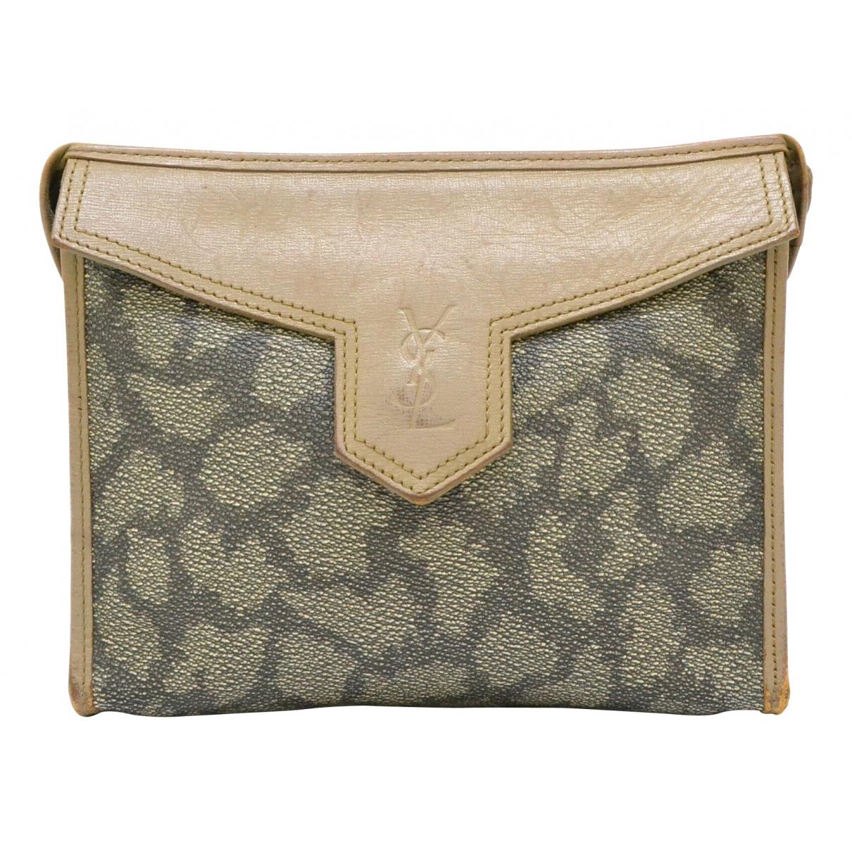 Yves Saint Laurent \N Khaki Cloth Clutch bag for Women \N