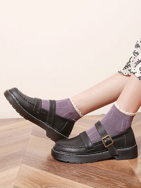 Milanoo Lolita Shoes Black PU Leather Flat Lolita Pumps