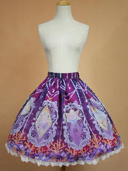Milanoo Sweet Lolita Skirt Lace Trim Vintage Floral Print Pleated Organza Lolita SK Original Design