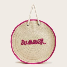 Letter Embroidered Contrast Trim Round Tote Bag