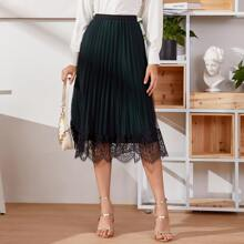 Lace Panel Mesh Overlay Pleated Skirt