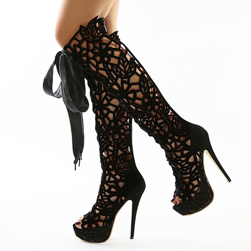 Ericdress Stiletto Heel Plain Peep Toe Western Boots
