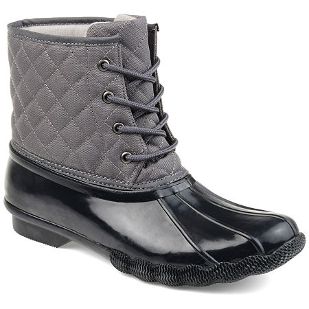 Journee Collection Womens Chill Water Resistant Snow Block Heel Lace-up Boots, 10 Medium, Gray