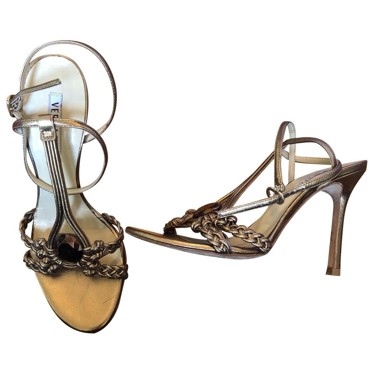 Versace \N Metallic Leather Sandals for Women 36.5 EU