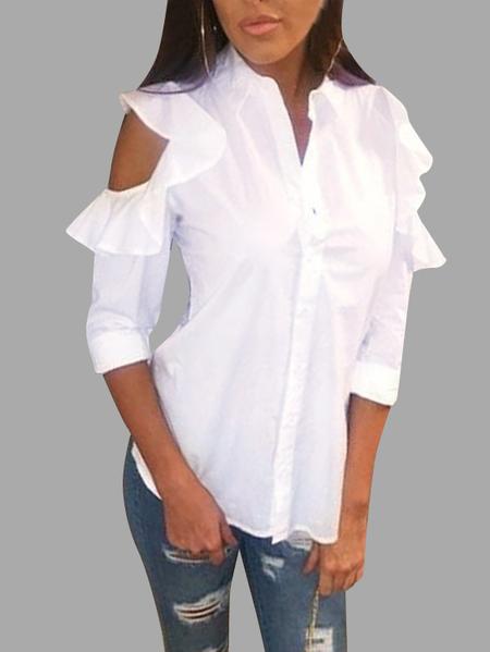 Yoins White Classic Collar Flounced Cold Shoulder Shirt