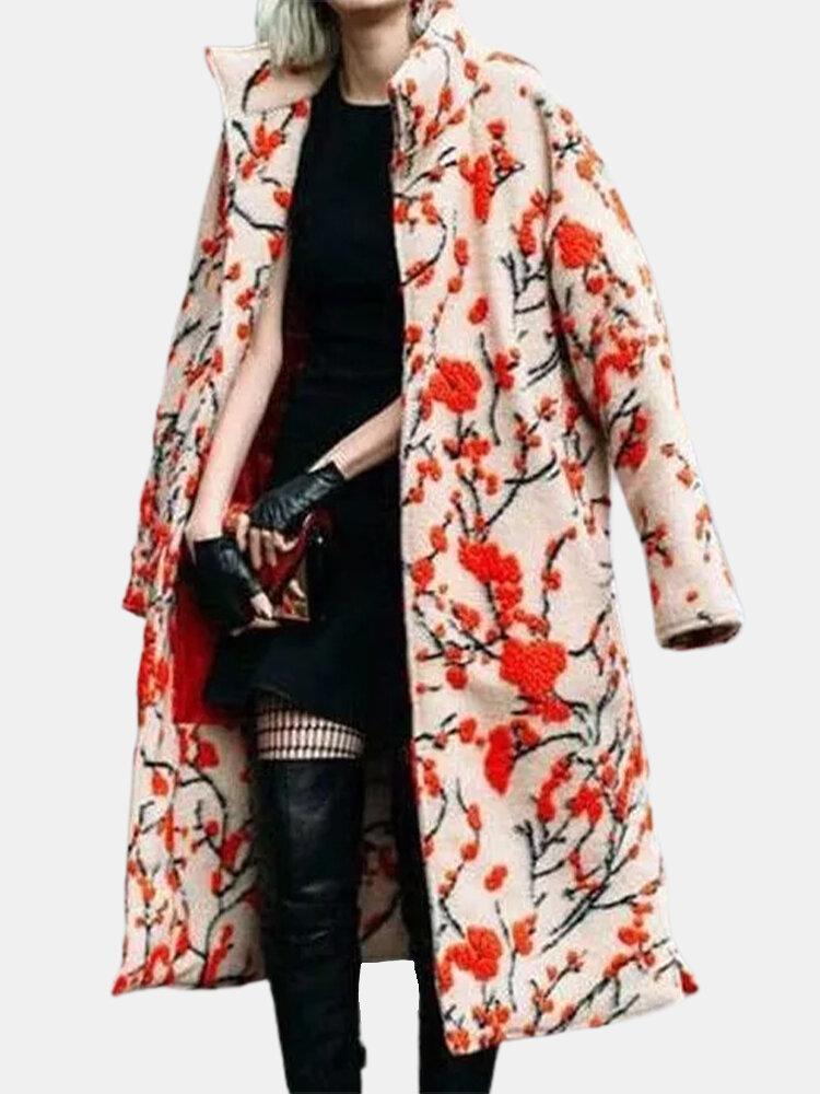 Plum Blossoms Print Long Sleeve Mid-length Ethnic Plus Size Coat