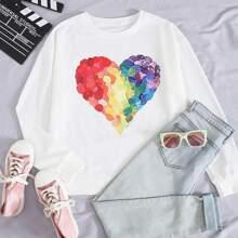 Drop Shoulder Colorful Heart Print Sweatshirt