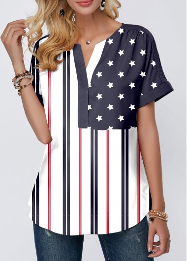 4Th Of July Women'S Navy Blue Split Neck Short Sleeve Patriotic Blouse American Flag Printed Curved Hem Tunic Casual Top By Rosewe - S
