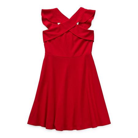 Emerald Gumdrops Big Girls Sleeveless Skater Dress, 7 , Red