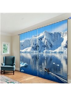 Magnificent Glacier in the Sunny Day Printed 3D Curtain