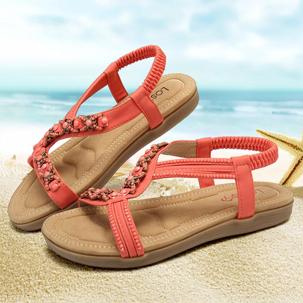 LOSTISY Beading Decor Comfy Open Toe Flat Elastic Sandals