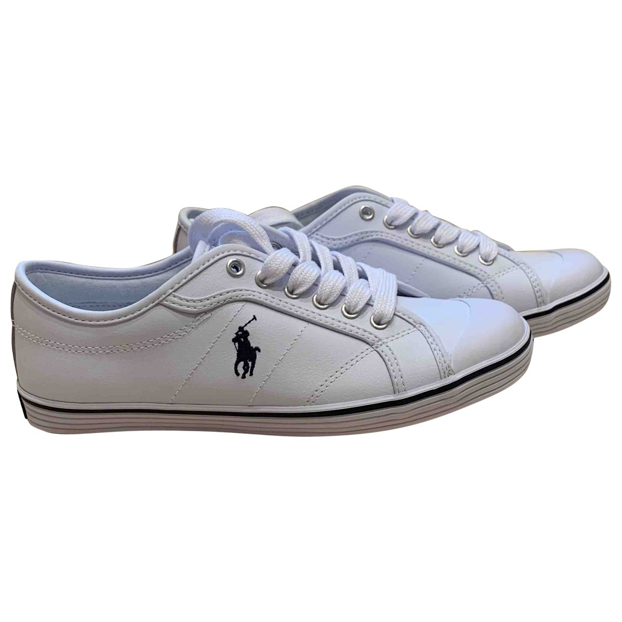 Polo Ralph Lauren \N White Leather Trainers for Women 37 IT