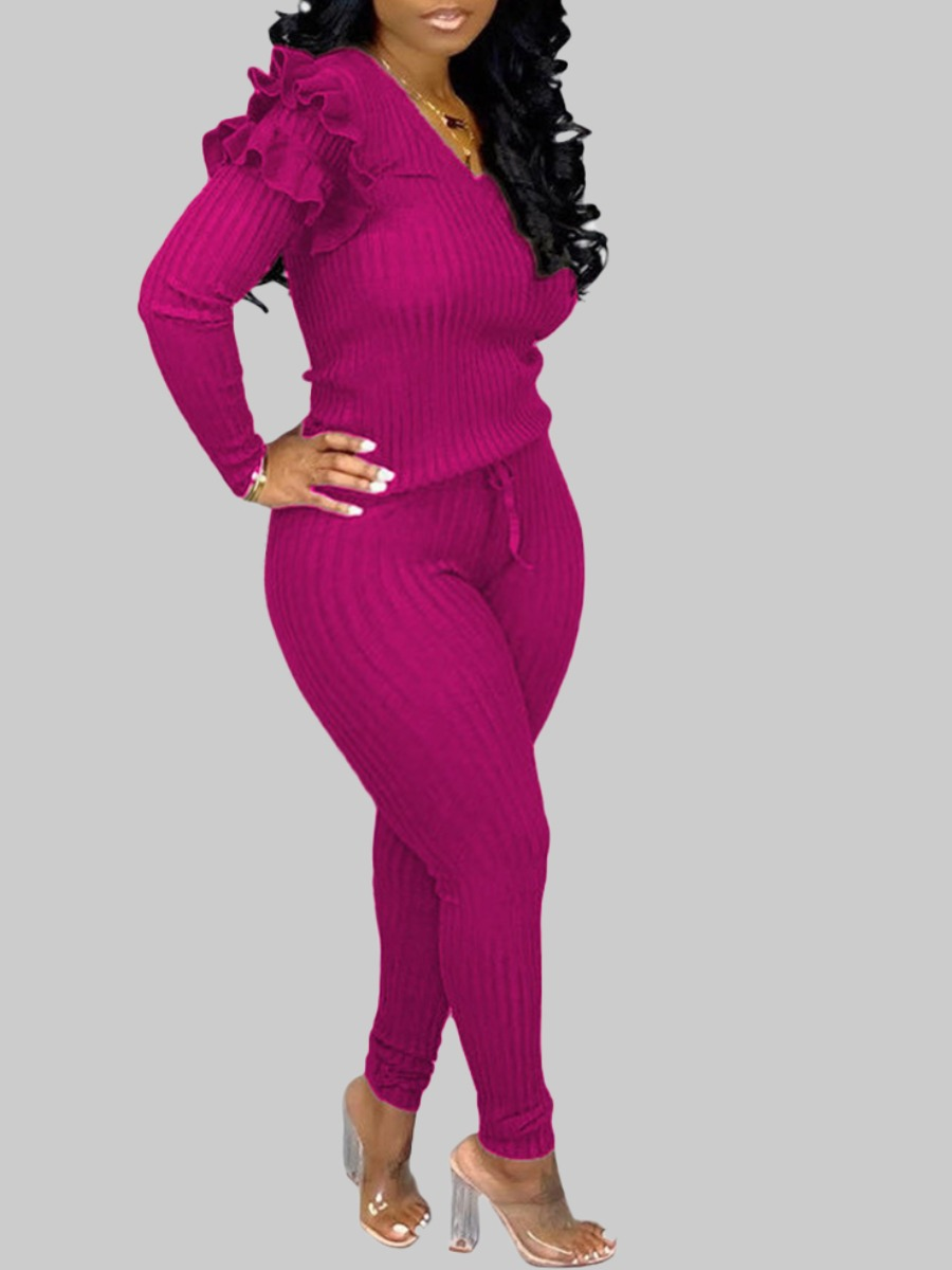 LW lovely Trendy V Neck Striped Rose Red Plus Size Two-piece Pants Set