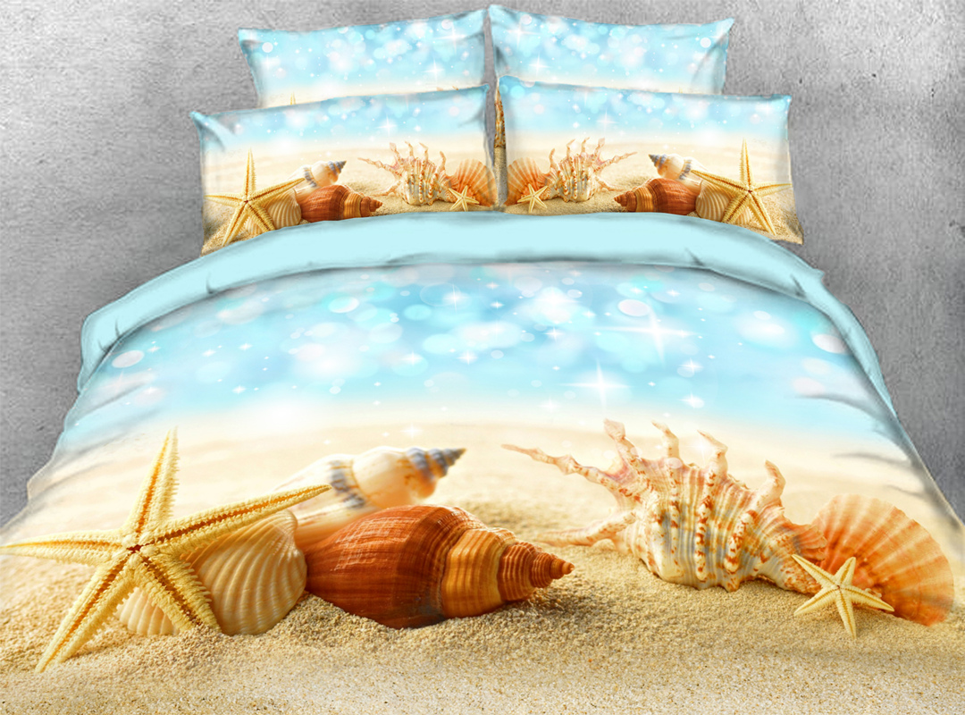 Starfish and Shells Beach Scenery 3D Coastal Zipper 4pcs Bedding Sets No-fading Soft Reactive Printing Duvet Cover with Ties