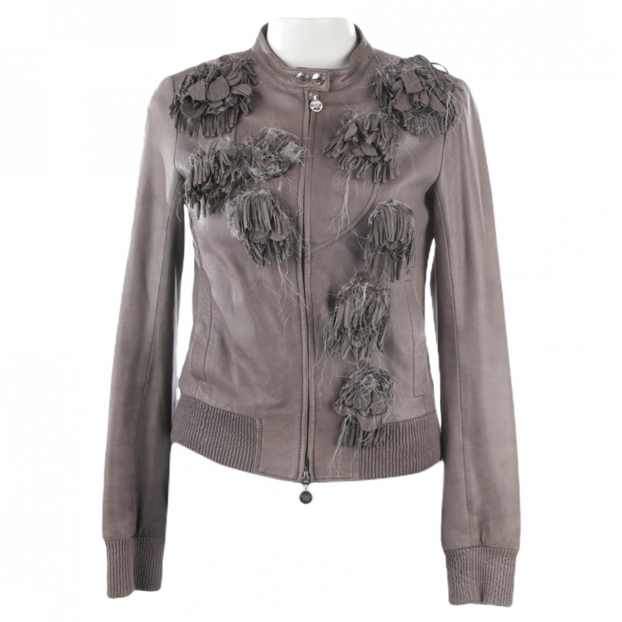 Patrizia Pepe \N Grey Leather jacket for Women 38 FR