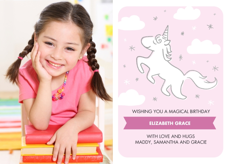 Kids Birthday Party 5x7 Cards, Premium Cardstock 120lb with Elegant Corners, Card & Stationery -Birthday Invite Unicorn