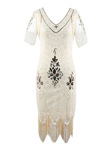 Milanoo Retro Flapper Dress Sequin 1920s Fashion Style Outfits Great Gatsby Costume Women Vintage 20s Party Dress