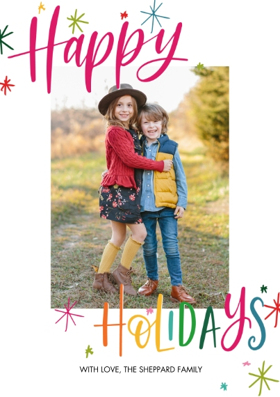 Holiday Photo Cards 5x7 Cards, Standard Cardstock 85lb, Card & Stationery -Holiday Festive Stars by Tumbalina