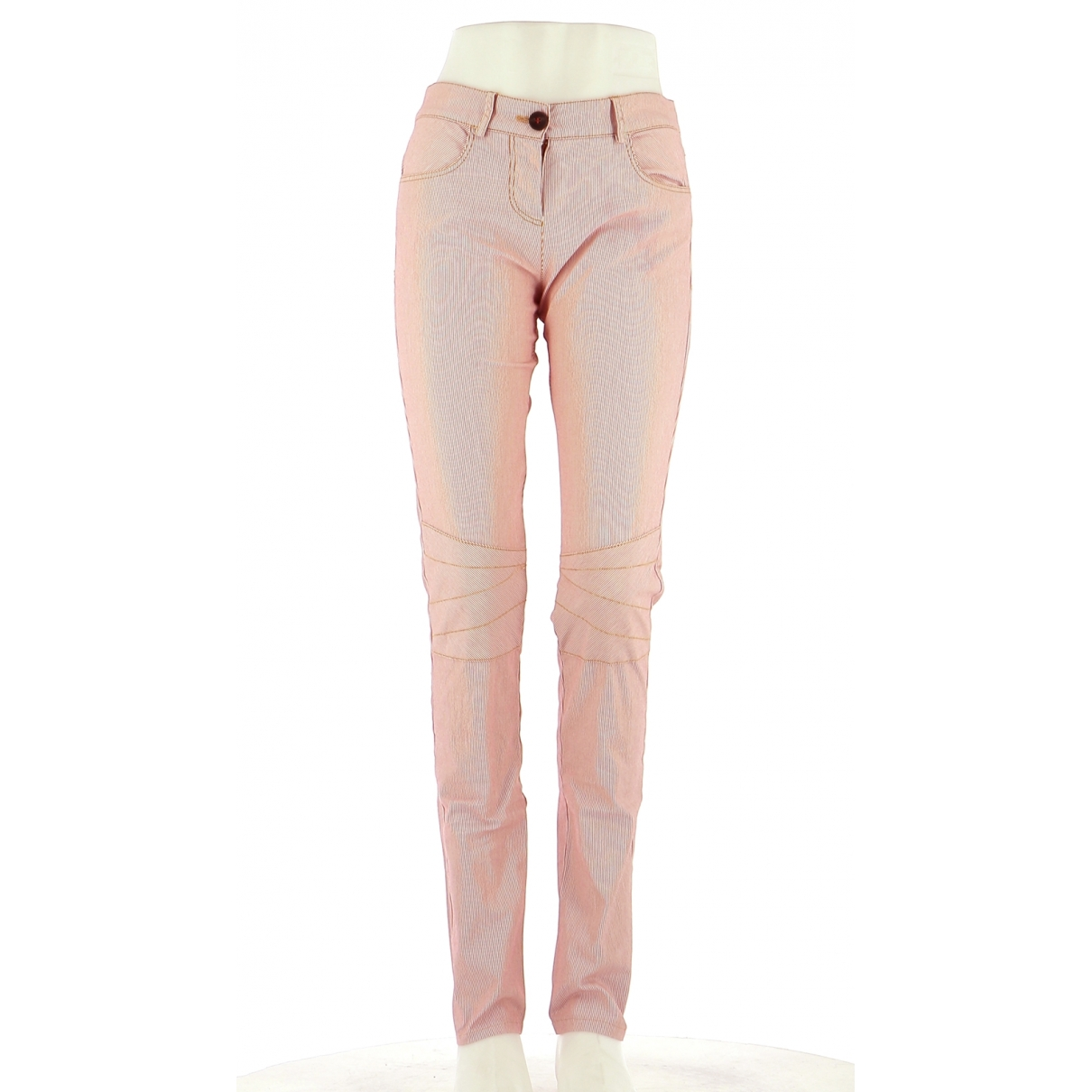 Non Signé / Unsigned \N Red Cotton Trousers for Women 36 FR