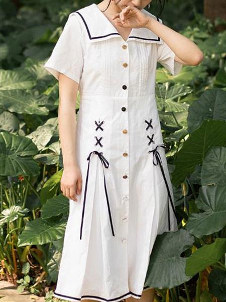 Milanoo Sweet Lolita OP Dress White Lace Up Lolita One Piece Dresses