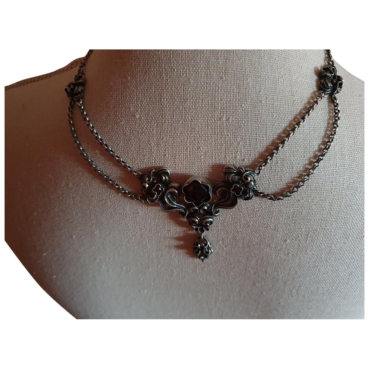 Non Signé / Unsigned Motifs Floraux Black Silver Bag charms for Women \N