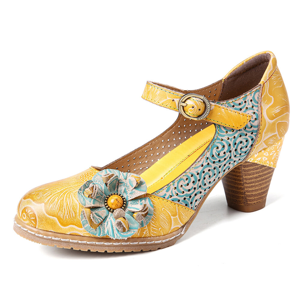 SOCOFY Floral Leather Buckle Ankle Strap Chunky Heel Pumps Mary Jane Dress Shoes