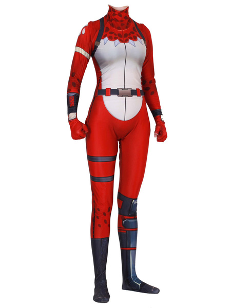 Milanoo Fortnite Cosplay Costumes Red Fortnite Game Leotard Jumpsuit Red Nosed Raider Lycra Spandex Adults Game Cosplay Costumes