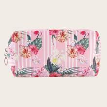 1pc Flower Print Makeup Bag