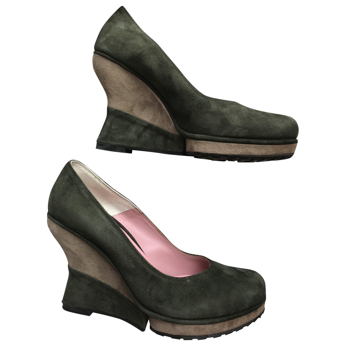 Non Signé / Unsigned \N Green Suede Heels for Women 39 EU