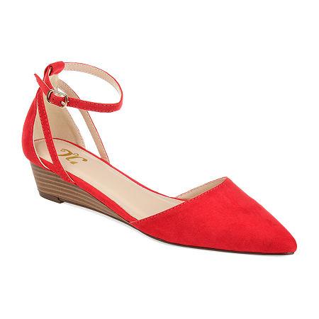 Journee Collection Womens Arkie Pumps Buckle Pointed Toe Wedge Heel, 8 1/2 Medium, Red
