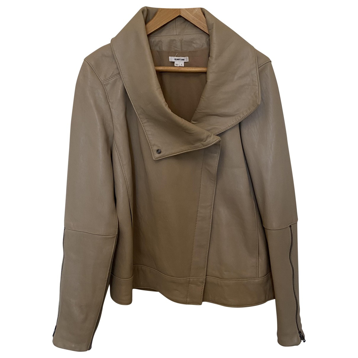 Helmut Lang \N Beige Leather Leather jacket for Women L International