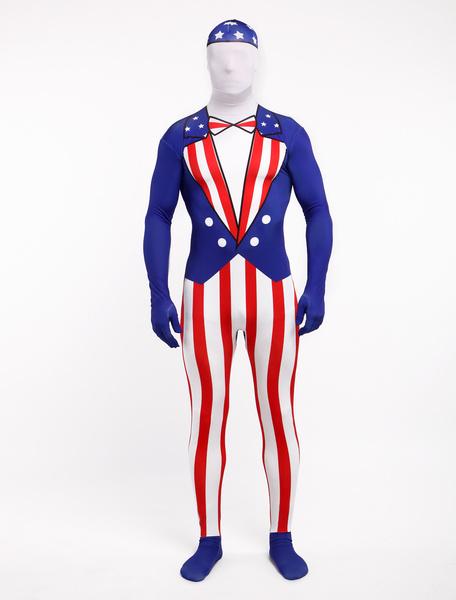 Milanoo Morph Suit American Flag Pattern Zentai Suit Full Body Lycra Spandex Bodysuit