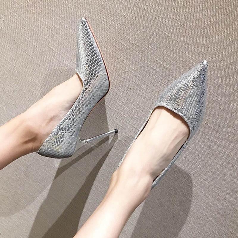 Ericdress Sequin Pointed Toe Stiletto Heel Women's Sexy Pumps