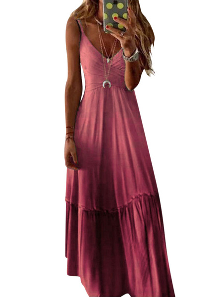 Milanoo Summer Maxi Dress Sleeveless Ombre Slip Dress
