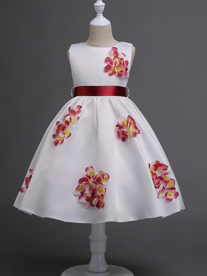 Ericdress Appliques Bow Sleeveless Girl's A Line Dress