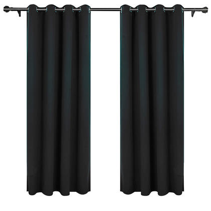 Solid Thermal Insulated Blackout Curtain, Black 1 Panel 52 * 84 Inch - LIVINGbasics™