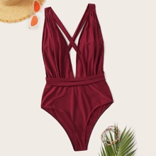 Plunging Neck Backless One Piece Swimsuit