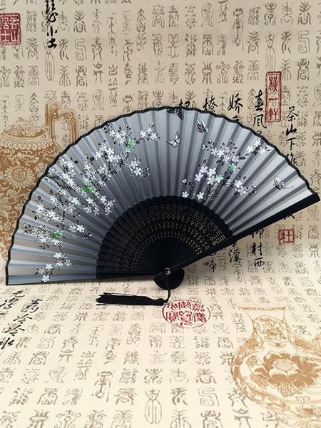 Milanoo Folding Fan Kimono Tassel Floral Print Costume Accessories