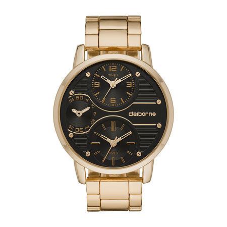 Claiborne Mens Gold Tone Bracelet Watch-Clm1193t, One Size , No Color Family
